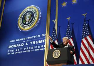 President Donald Trump speaks at The Salute To Our Armed Services Inaugural Ball in Washington