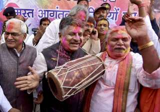 Union Minister for Communications & Information Technology and Law & Justice Ravi Shankar Prasad celebrating Holi with BJP and RSS leaders in Patna.