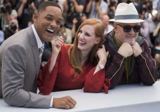 Jury members Will Smith, from left, Jessica Chastain and Pedro Almodovar pose for photographers during the photo call for the Jury at the 70th international film festival, Cannes.