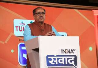 Deputy chief minister of Jammu and Kashmir, Nirmal Singh attended the mega conclave India TV Samvaad in a cotton-blue kurta, which he paired with a brown coloured Nehru Jacket.