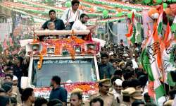 Rahul Gandhi at a road-show in Lucknow on Friday- India Tv