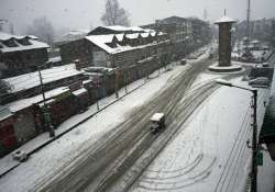 A view of Lal Chowk during heavy snowfall on Friday