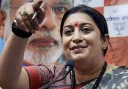 Smriti Irani interacts with media during a press conference- India Tv
