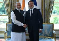 Indian PM Narendra Modi with French President Emmanuel