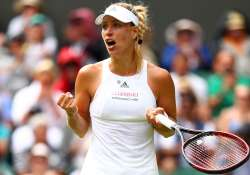 Angelique Kerber of Germany celebrates after winning the