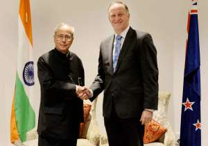President Pranab Mukherjee and New Zealand Prime Minister John Key- India Tv