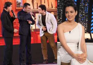 Shah Rukh Khan with Salman Khan and Aamir Khan, Kangana Ranaut- India Tv