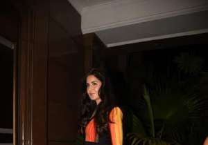 Katrina Kaif glowed in an orange-black dress.