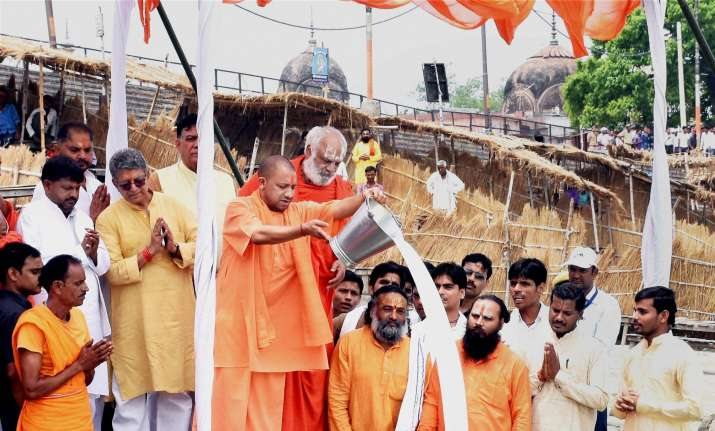 UP CM Yogi Adityanath performs worship of Saryu River in