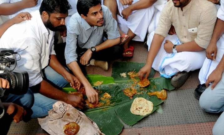Youth Congress workers at a beef Festival in Kochi