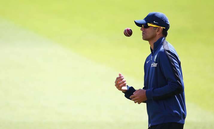Rahul Dravid of India looks on during an India nets session