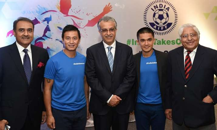 AIFF President Praful Patel with Baichung Bhutia and Sunil