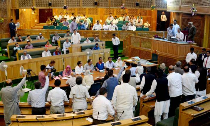 Opposition protests during the special session of Jammu and