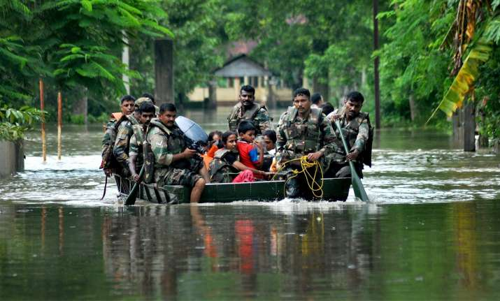 Army soldiers rescuing people from floods