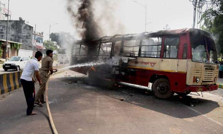 Violence in Allahabad after BSP leader's murder; Buses torched, hospital vandalised