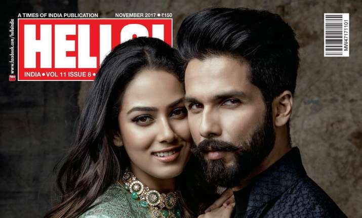 Shahid Kapoor poses with wife Mira Rajput for first