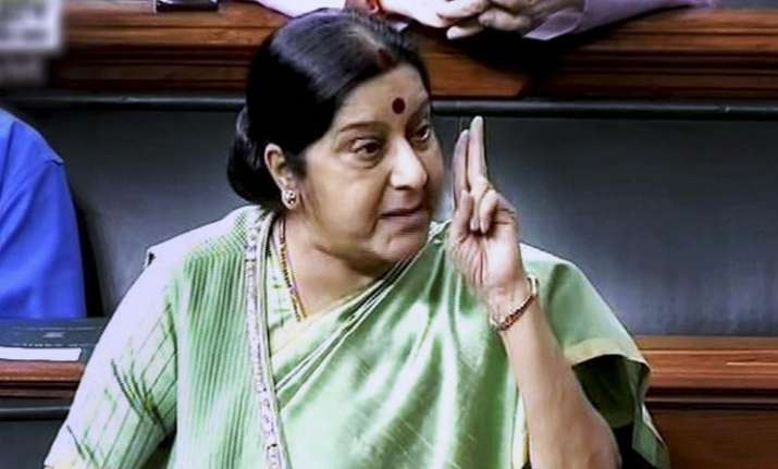 Sushma slams Pakistan over Jadhav-family meet