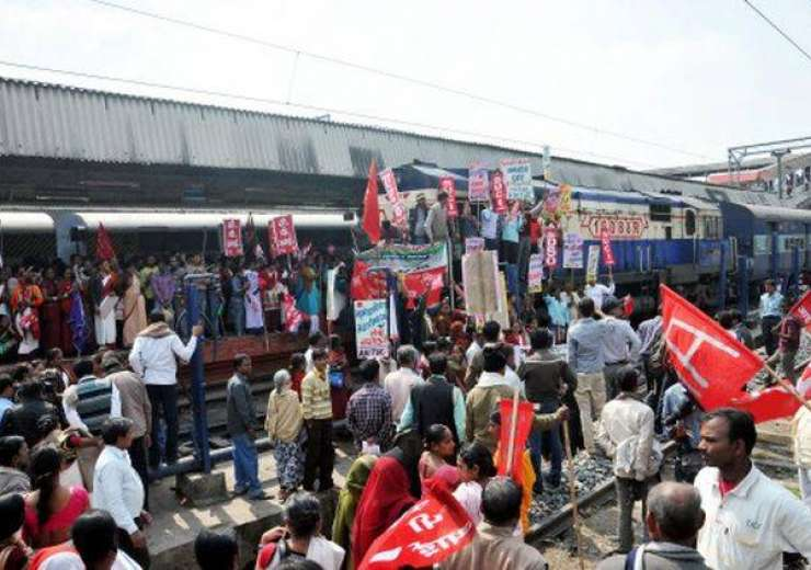 national railway mazdoor union protest their demands