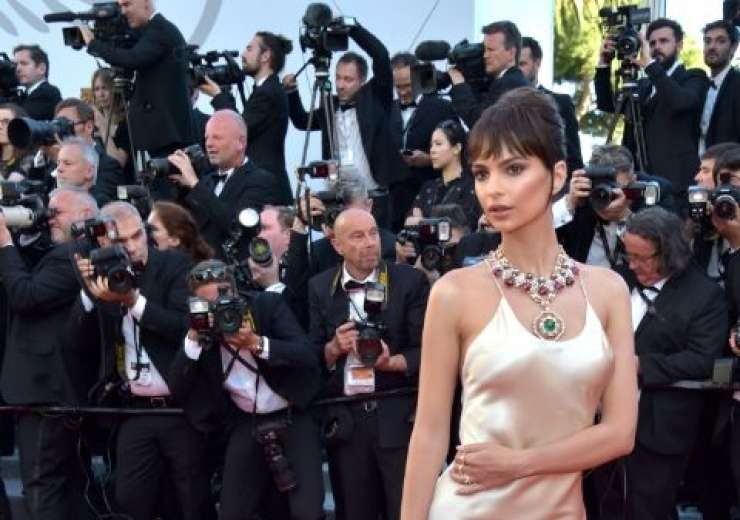 American model and actress Emily Ratajkowski's nude coloured dress was a hit.