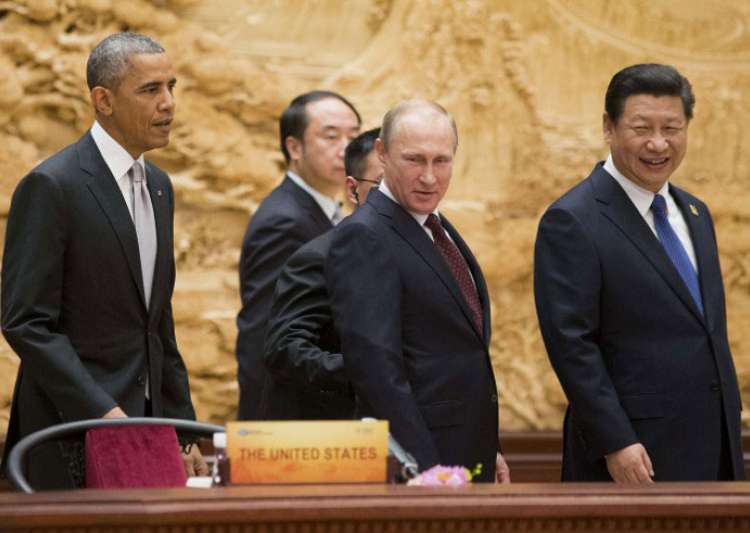 Barack Obama with Putin and Xi