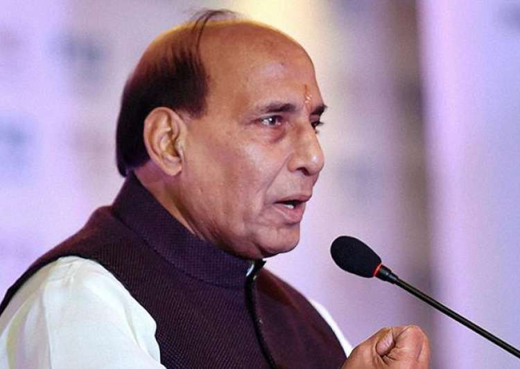 File pic of Rajnath Singh speaking at an event in New Delhi
