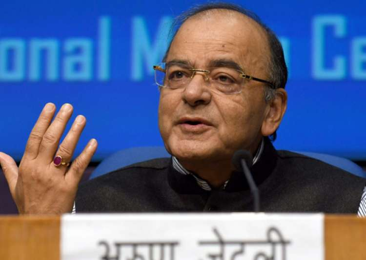 File pic - Finance Minister Arun Jaitley speaks to media in- India Tv