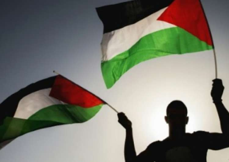 File pic - A man waves Palestinian flag