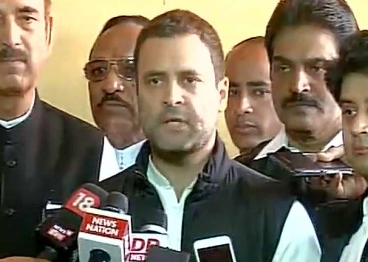 Rahul Gandhi speaks to reports outside Parliament - India Tv