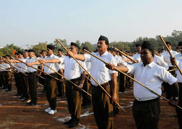 File pic - RSS members taking part in a foot march in Bhopal- India Tv