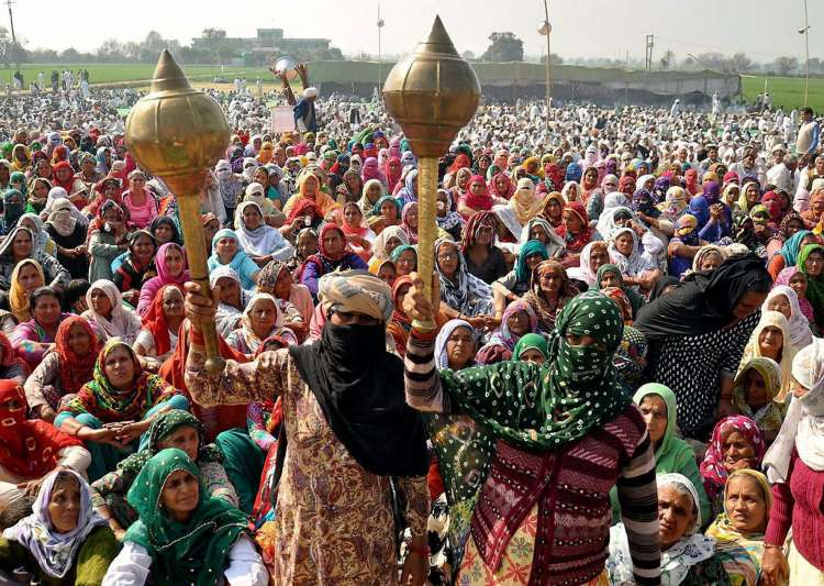 Women protesters at a Jat protest rally in Jasia village in