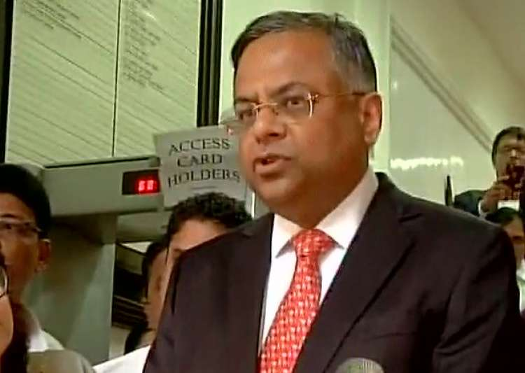 Tata Sons Chairman speaks to reporters after taking charge