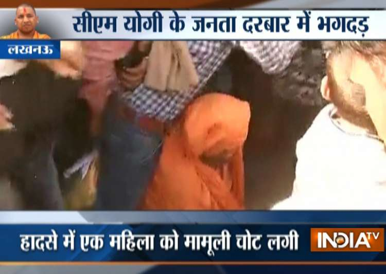Chaos outside CM Yogi's residence during 'janata
