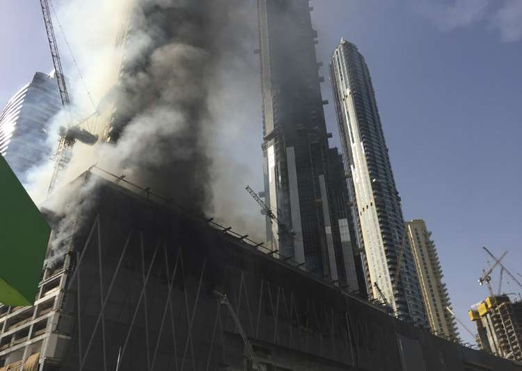 Fire at an under-construction tower in Dubai- India Tv