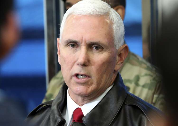Mike Pence speaks to the media at border village of- India Tv