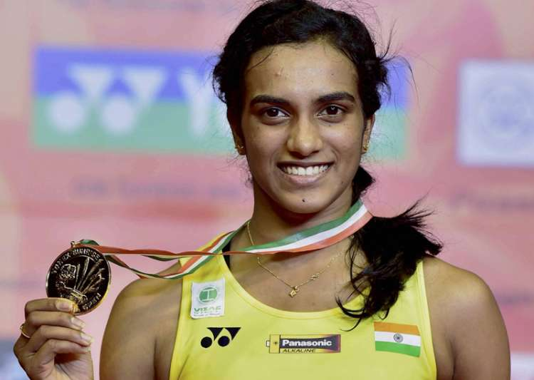 Sindhu poses with her medal after winning final of the- India Tv