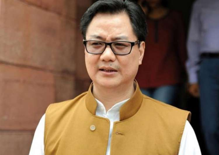 File pic of MoS for Home Affairs Kiren Rijiju outside