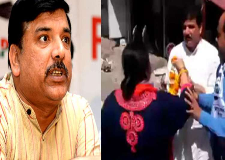 AAP's Sanjay Singh slapped by woman party worker- India Tv