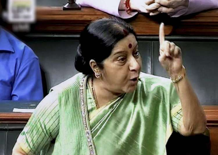 Sushma Swaraj speaks in the Lok Sabha in New Delhi on- India Tv