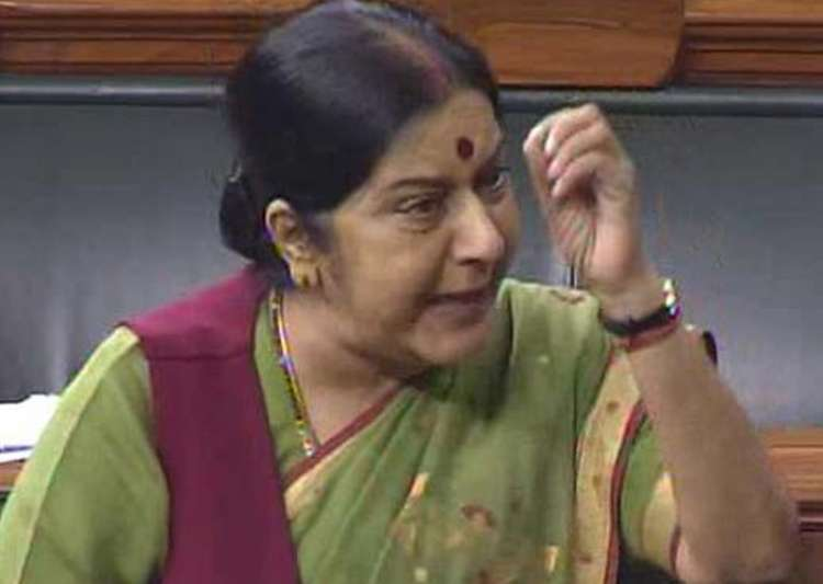 File pic of Sushma Swaraj speaking on the floor of Lok- India Tv