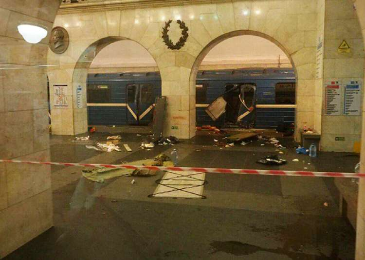A subway train hit by an explosion in St Petersburg- India Tv