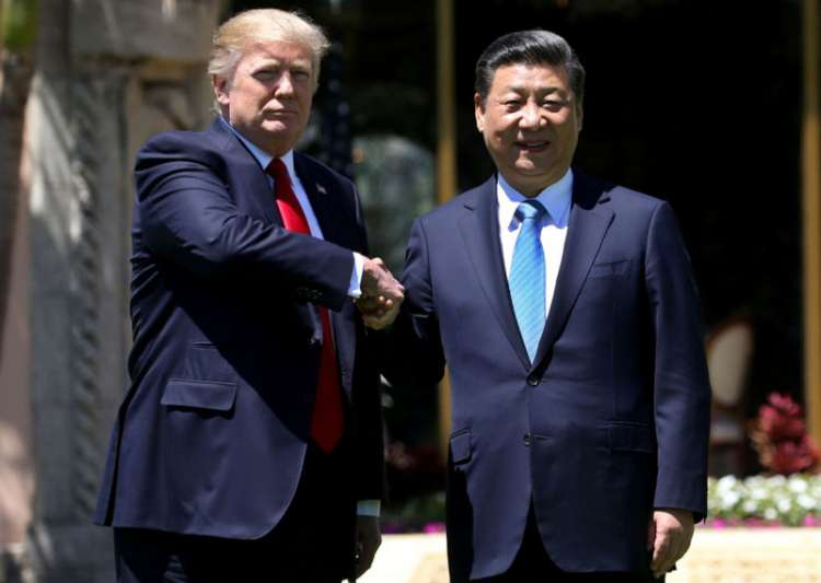 File pic of Donald Trump and Xi Jinping