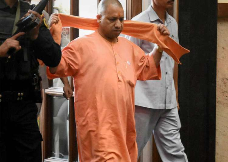 File pic - Adityanath arrives for a cabinet meeting at Lok- India Tv