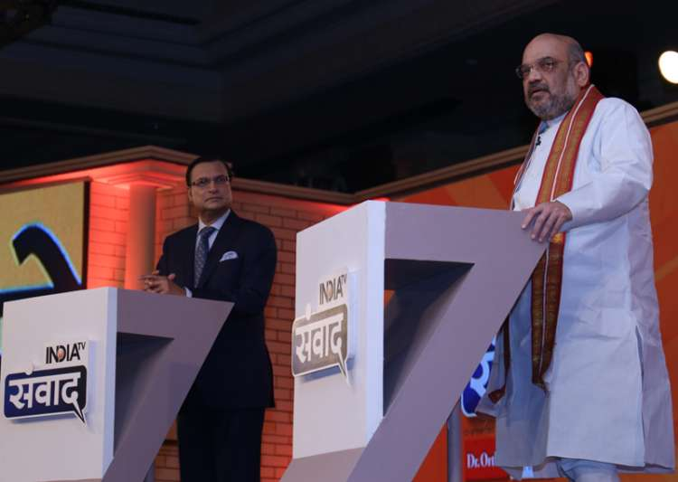 Rajat Sharma grills Amit Shah on sets if India TV's- India Tv
