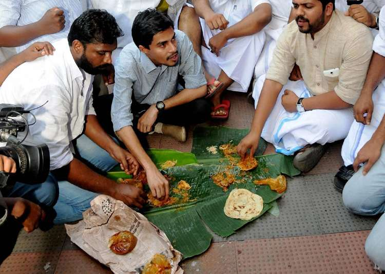 Youth Congress workers at a beef Festival in Kochi- India Tv