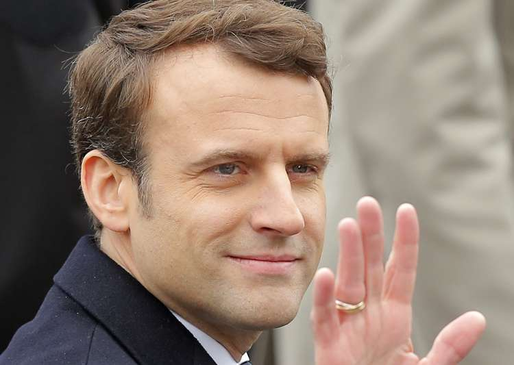 French president-elect Emmanuel Macron waves while- India Tv