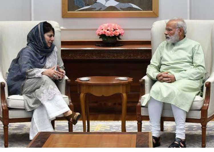 File pic of Mehbooba Mufti and Narendra Modi - India Tv