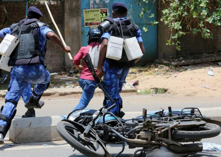 RAF personnel trying to stop protest after lynching