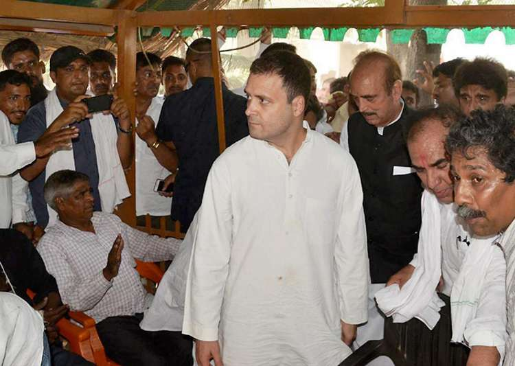 Rahul meeting the victims of Saharanpur caste violence at