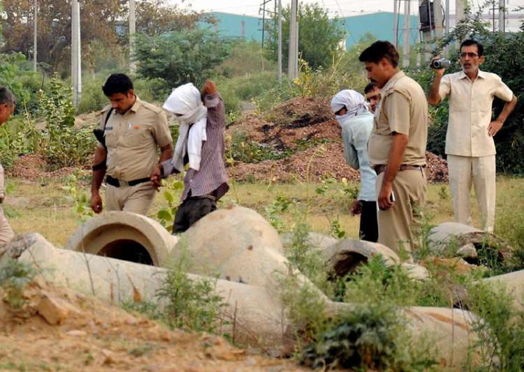 Rohtak: Police, with the accused, inspecting the scene of