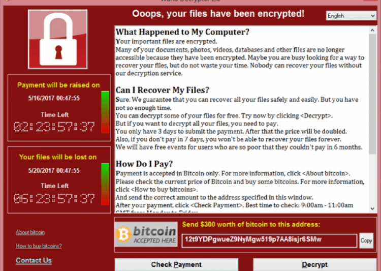 WannaCry screen after infecting- India Tv